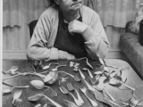 Barbara Scheid and her silverware, which bent during a telecast in Germany.