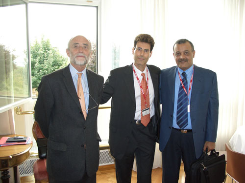 Geneva, Switzerland 2005. From L to R Uri Geller with Dr. Jakob Kellenberger, President, International Committee of the Red Cross and Younis Al-Khatib, President Palestine Red Crescent Society