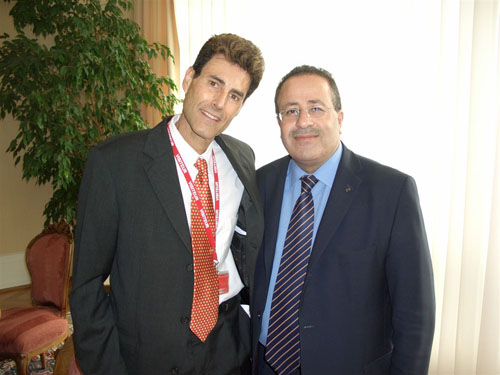 Geneva, Switzerland 2005. Uri with Dr. Mohammed Al-Hadid, Chairman, Standing Commissioner of the Red Cross and Red Crescent.