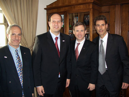 Washington DC, State Department 2006. From L to R Yonathan Yagodovsky, Director Isn't Dept, MDA. Chairman Dr. Noam Yifrach of MDA with Congressman Mark Steven Kirk