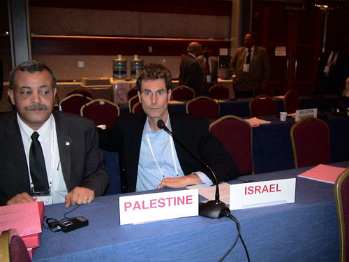 Geneva, Switzerland 2005. With Younis Al-Khati, President Palestine Red Crescent Society.