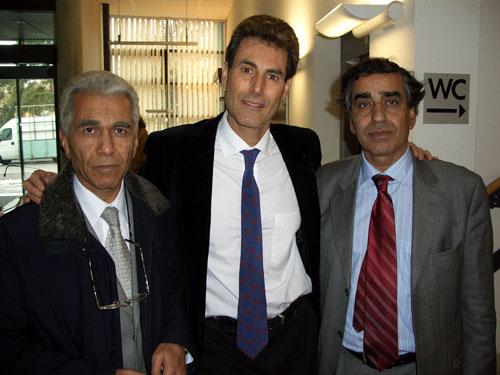 Geneva, Switzerland 2005. L to R Dr. Mohammad Abu-Koash, Ambassador Mission of Palestine. UG and Dr. Anis Alqaq, Palestinian General Delegation