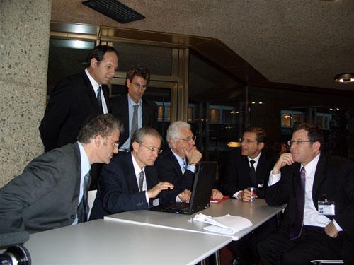 Geneva, Switzerland 2005. Uri together with the Israeli negotiation team. From L to R Mr. Daniel Taub, (Foreign Office) Dr. Noam Yifrach, (Magen David Adom) Mr. Aharon Leshno Yaar, (Foreign Office) Ambassador Itzhak Levanon, Deputy, Mr. Tibor Shalev-Schlosser, (Permanent Mission) Mr. Daniel Meron, (Foreign Office)