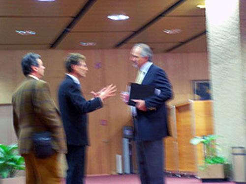 Geneva, Switzerland 2005. Uri meeting the Syrian Ambassador Bashar Ja'afari.