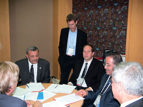 Seoul, Korea 2005. Signing the agreement From L/R Younis Al-Khatib, President Palestine Red Crescent Society, Dr. Noam Yifrach, President, Magen David Adom, Dr. Mohammed Al-Hadid, Chairman, Standing Commissioner of the Red Cross and Red Crescent
