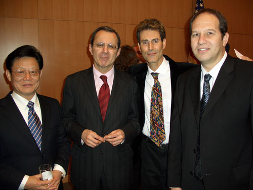 Geneva, Switzerland 2005. Ambassador Sha Zukang of China, Jeffrey Kovar Legal advisor to the United States of America Mission and Dr Noam Yifrach Head of Magen David Adom Israel.