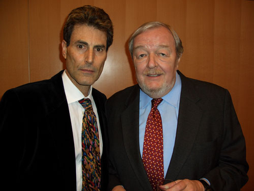 Geneva, Switzerland 2005. Uri Geller and British Ambassador Nick Thorne.