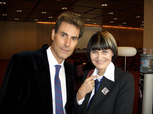 Geneva, Switzerland 2005. Uri and Swiss Foreign Minister Micheline Calmy-Rey