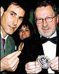 JewishTelegraph 50th anniversary dinner in Manchester. Uri Geller and Lord Mayor of Liverpool Cllr Eddie Clein Picture: Barrie Cowan, JewishTelegraph