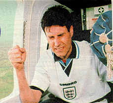 Uri Geller in the helicopter flying besides Wembley moving the ball with the power of his mind.