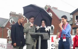 David Blaine, Michael Jackson, Uri Geller watch the balloons set off at Exeter City football ground. Picture by Alan Davidson
