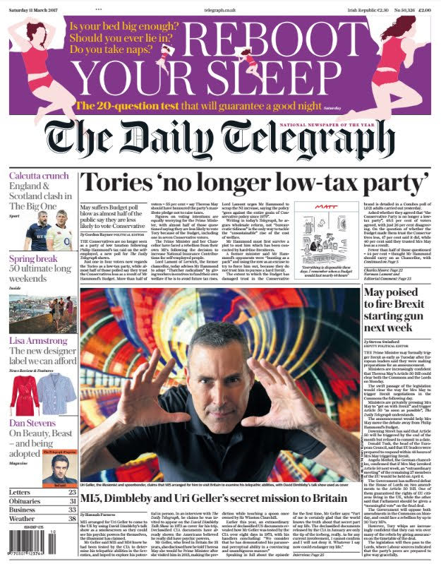 Uri Geller Front Page of Daily Telegraph