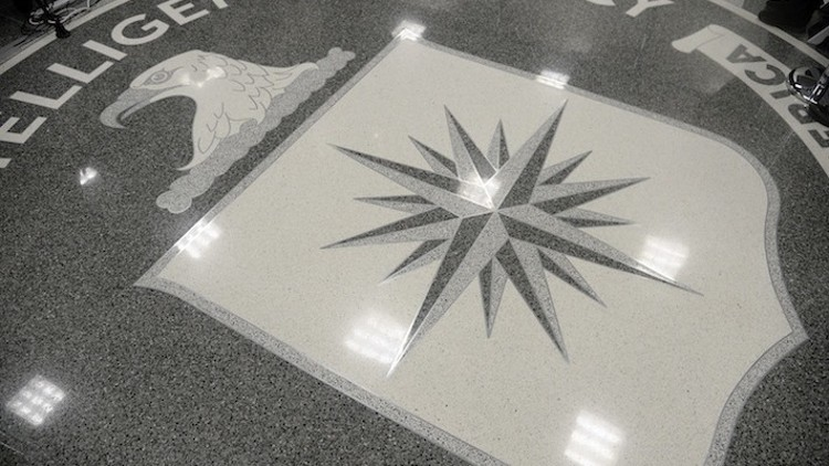 The CIA seal is seen on the floor during a visit by U.S. President Donald Trump on Jan. 21, 2017 at the CIA headquarters in Langley, Va. (Olivier Douliery/Pool/Sipa USA/TNS)