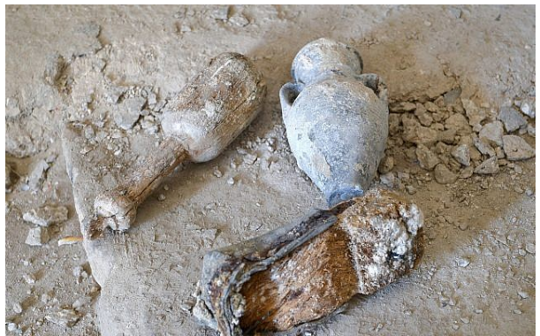 Artifacts found during work on the Uri Geller Museum in Jaffa are seen on August 14, 2018. (Yossi Zeliger/Flash90)